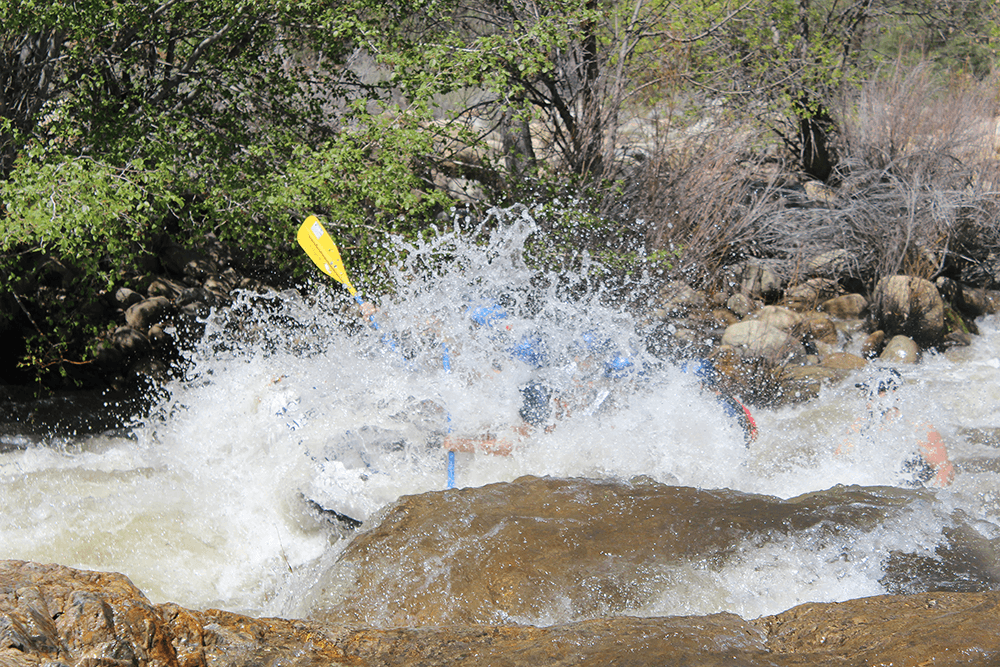 Raft at the bottom of the drop at Limestone rapid