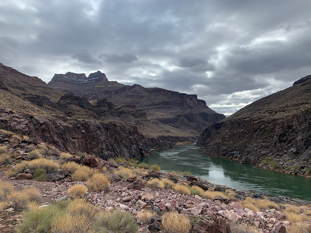 Upstream view of Bass Camp on a cool day