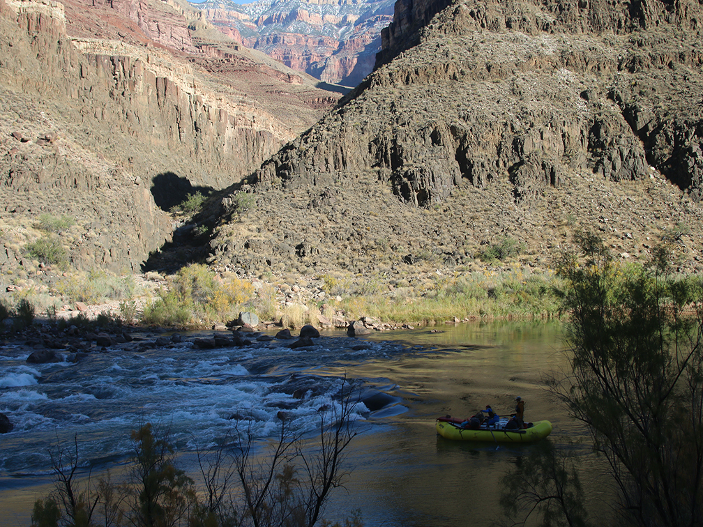 A raft entering Deubendorff Rapid in the Grand Canyon