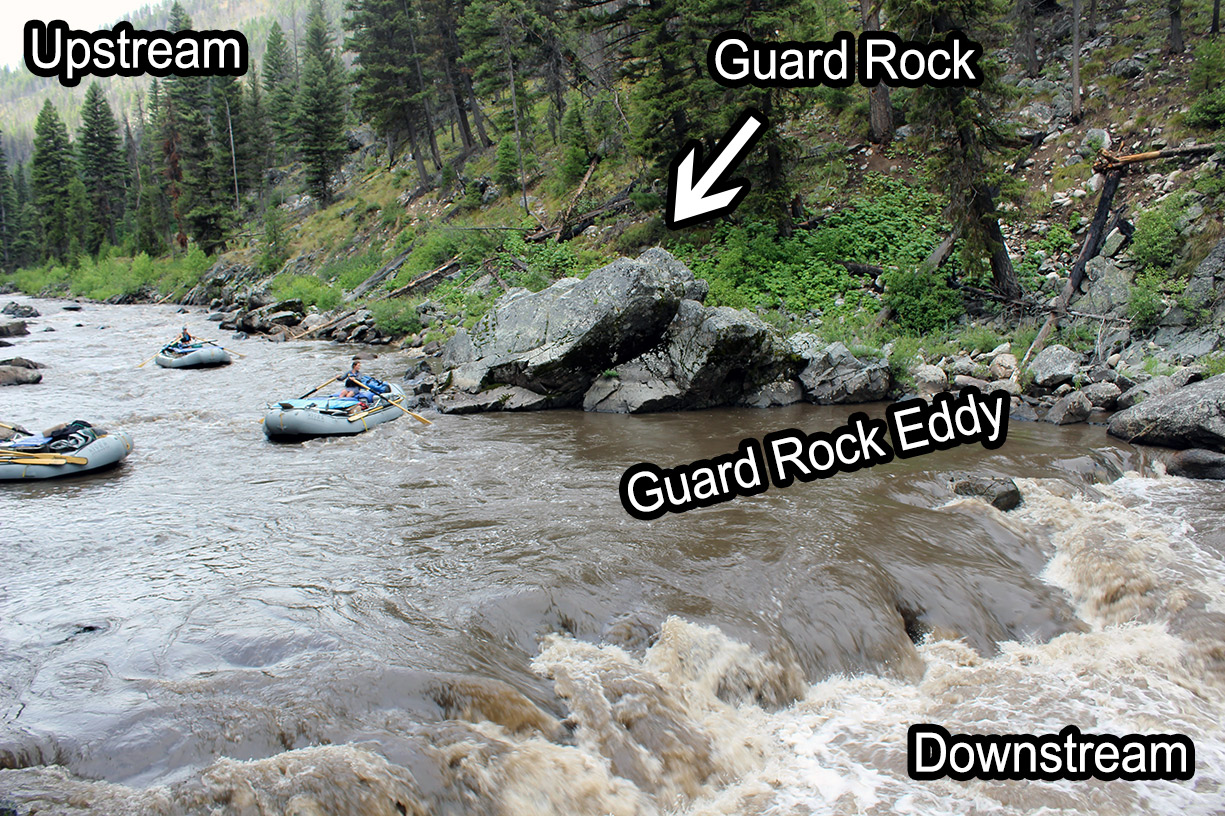 Velvet falls rapid on the Middle Fork with labels.
